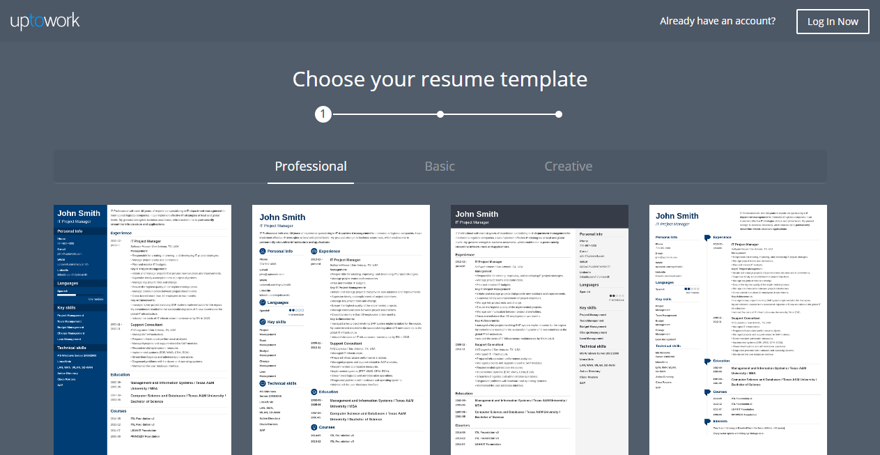 Uptowork Is Another Online Resume Builder For Free Which Allows You To Create Amazing Resumes In Minutes Anything But Difficult Utilize And